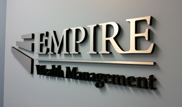 Lobby signs for financial firms